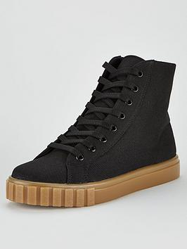 V by Very V By Very Canvas Hi-Top Trainer - Black Picture