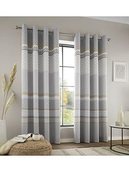 Catherine Lansfield Catherine Lansfield Malawa Geo Eyelet Curtains Picture