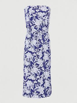 V by Very V By Very Bardot Channel Waist Jersey Midi Dress - Navy Print Picture