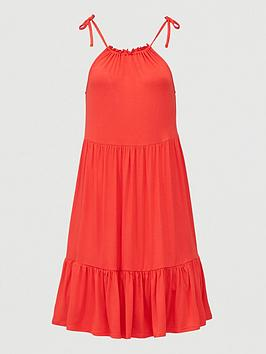 V by Very V By Very Tiered Jersey Tie Shoulder Short Dress - Red Picture