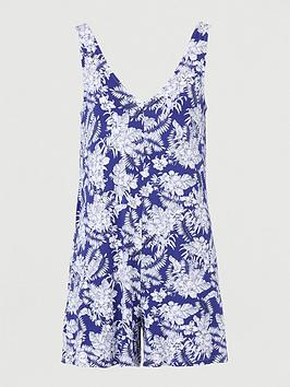 V by Very V By Very V Neck Jersey Playsuit With Side Pockets - Blue Floral Picture