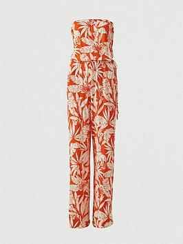 V by Very V By Very Strapless Tie Waist Jumpsuit - Orange Print Picture