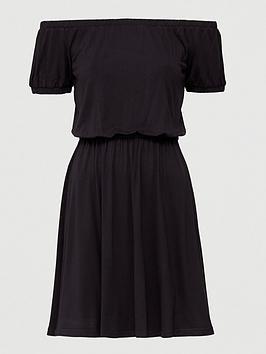 V by Very V By Very Bardot Elastic Waist Jersey Mini Dress - Black