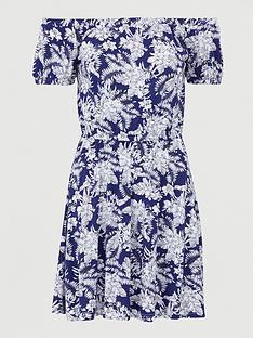 v-by-very-bardot-elastic-waist-jersey-mini-dress-navy-print