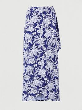 V by Very V By Very Tall Wrap Jersey Maxi Skirt - Navy/Print Picture