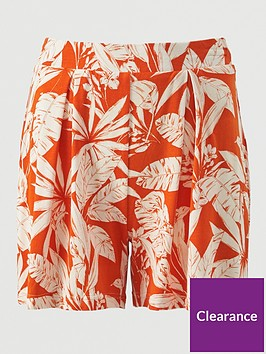 v-by-very-pleated-jersey-shorts-orange-print