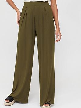 V by Very V By Very Wide Leg Jersey Trouser - Khaki Picture