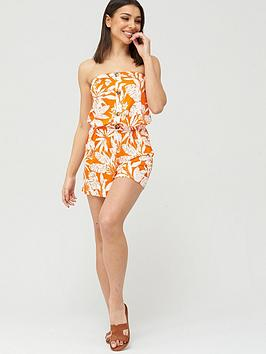 V by Very V By Very Strapless Button Down Jersey Playsuit - Orange Print Picture