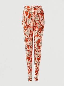 V by Very V By Very Jersey Tapered Leg Trouser - Orange Print Picture