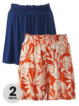 V by Very V By Very 2 Pack Shirred Hem Jersey Shorts - Orange/Navy