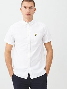 lyle-scott-short-sleeved-oxford-shirt-white