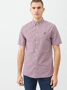 lyle-scott-short-sleeved-gingham-shirt-redwhite