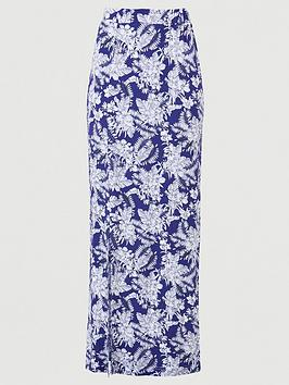 V by Very V By Very Split Side Jersey Maxi Skirt - Navy Print Picture