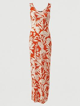 V by Very V By Very Tall Scoop Neck Jersey Maxi Dress - Orange Print Picture