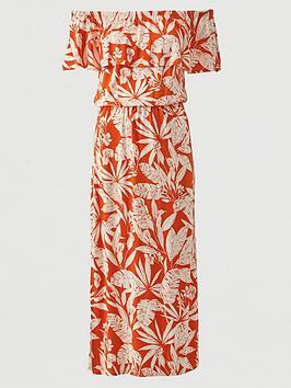 V by Very V By Very Bardot Frill Jersey Midi Dress - Orange Print Picture