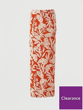v-by-very-split-side-jersey-maxi-skirt-orange-print
