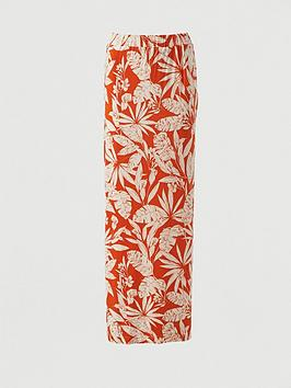 V by Very V By Very Split Side Jersey Maxi Skirt - Orange Print Picture