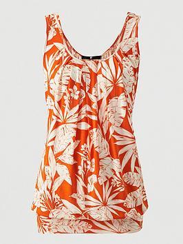V by Very V By Very Scoop Neck Bubble Hem Vest - Orange Print Picture