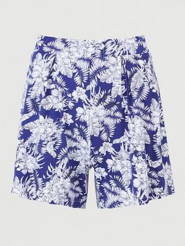 V by Very V By Very Pleated Jersey Shorts - Navy Print Picture