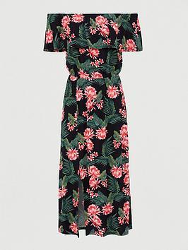 V by Very V By Very Bardot Frill Jersey Midi Dress - Black Print Picture