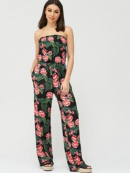 V by Very V By Very Strapless Tie Waist Jumpsuit - Black Print Picture