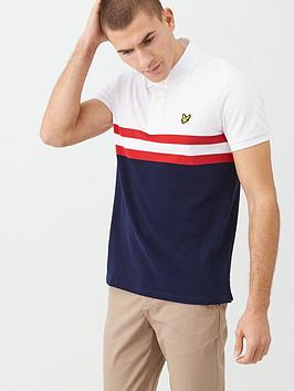 Lyle & Scott Lyle & Scott Yoke Stripe Polo Shirt - White/Navy Picture