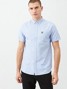 lyle-scott-short-sleeved-oxford-shirt-light-blue
