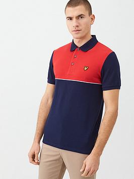 Lyle & Scott Lyle & Scott Yoke Stripe Polo Shirt - Red/Navy Picture