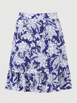 V by Very V By Very Frill Hem Jersey Mini Skirt - Blue Floral Picture