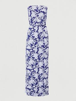V by Very V By Very Petite Bardot Jersey Maxi Dress - Navy/Print Picture