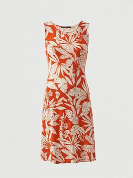 V By Very Sleeveless Floral Jersey Dress - Orange Print