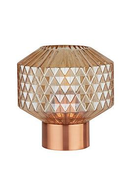 Very Textured Amber Glass Table Lamp Picture