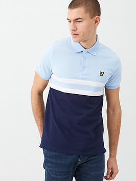Lyle & Scott Lyle & Scott Yoke Stripe Polo Shirt - Light Blue/Navy Picture