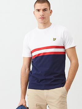 Lyle & Scott Lyle & Scott Yoke Stripe T-Shirt - White/Navy Picture