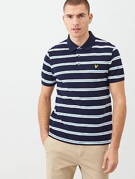 Lyle & Scott Lyle & Scott Wide Double Stripe Polo Shirt - Navy Picture