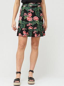 V by Very V By Very Frill Hem Jersey Mini Skirt - Black Print