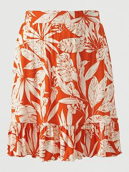V by Very V By Very Frill Hem Jersey Mini Skirt - Orange Print Picture