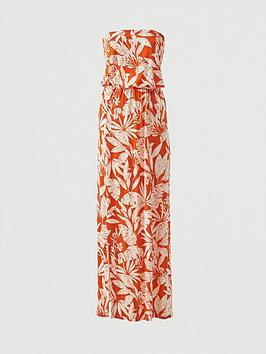 V by Very V By Very Bardot Jersey Maxi Dress - Orange Print Picture