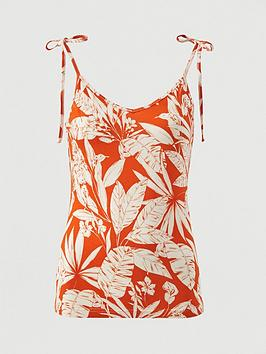 V by Very V By Very Tie Shoulder Jersey Vest - Orange Print Picture