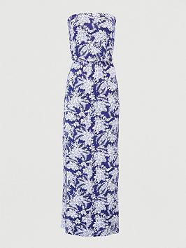 V by Very V By Very Bardot Jersey Maxi Dress - Navy Print Picture