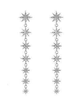 Mood Mood Mood Silver Plated Crystal Star Linear Drop Earrings Picture