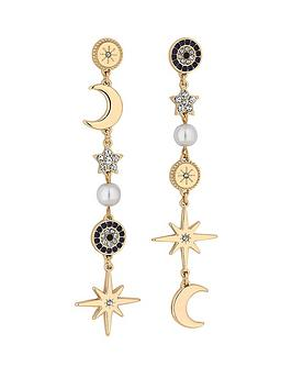 Mood Mood Mood Gold Plated Celestial Star And Moon Drop Earrings Picture