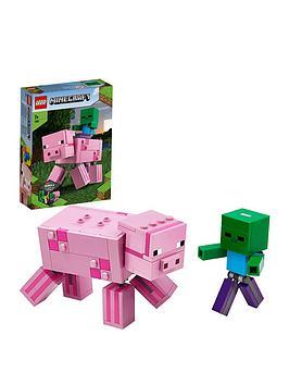 LEGO Minecraft Lego Minecraft 21157 Bigfig Pig With Baby Zombie Figures Picture