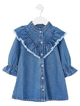 river-island-mini-girls-frill-neck-denim-dress-blue