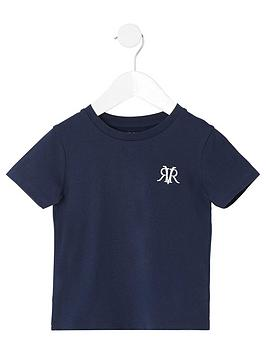 River Island Mini River Island Mini Boys Rvr Embroidered T-Shirt - Navy Picture