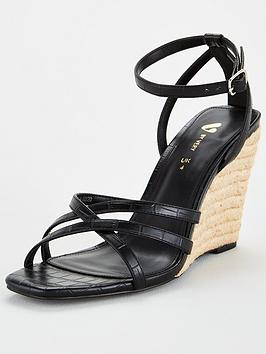 V by Very V By Very Devon Square Toe Strappy Wedge - Black Picture
