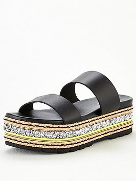 V by Very V By Very Hollo Leather Neon Glitter Trim Flatform Sandals -  ... Picture
