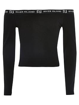 River Island River Island Girls Long Sleeve Bardot Top - Black Picture