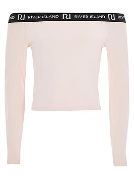 River Island River Island Girls Long Sleeve Bardot Top - Pink Picture