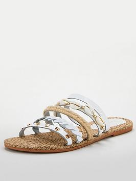 V by Very V By Very Leather Wide Fit Hox Shell Trim Strappy Sandal - White Picture